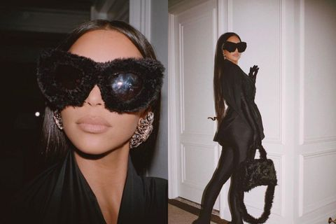 Kim Kardashian með loðin sólgleraugu frá Balenciaga.