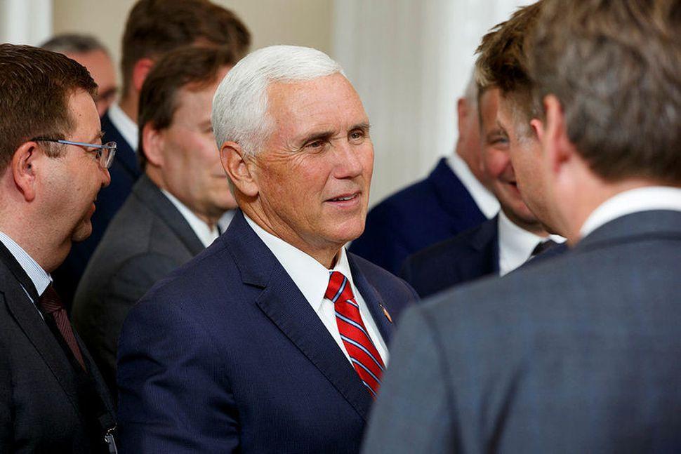 Mike Pence, varaforseti Bandaríkjanna, í Höfða í gær.