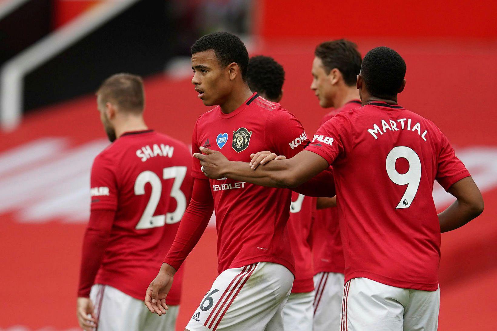 Mason Greenwood fagnað eftir að hann jafnaði fyrir Manchester United.