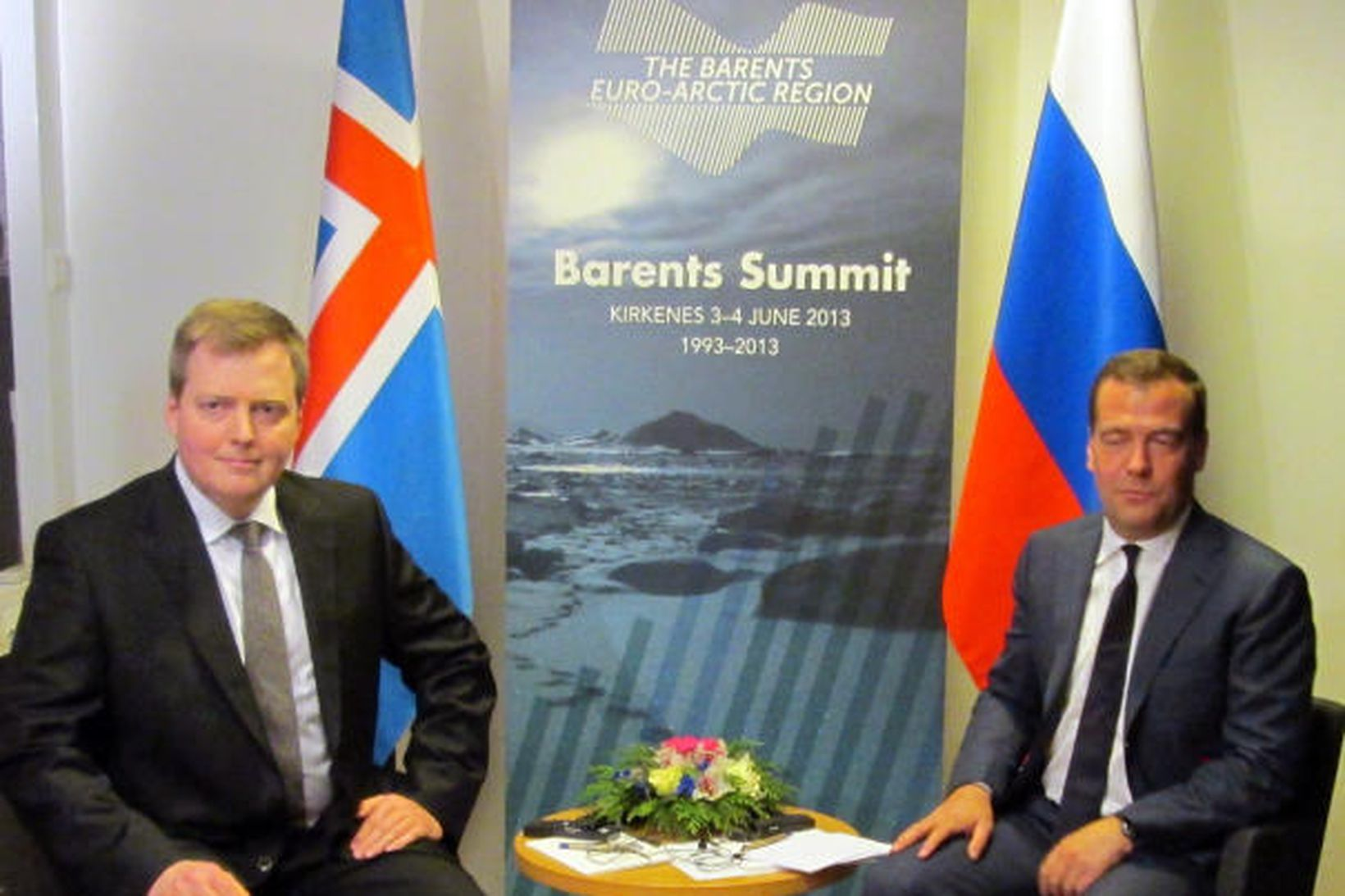 Sigmundur Davíð Gunnlaugsson og Dmitry Medvedev á fundi.