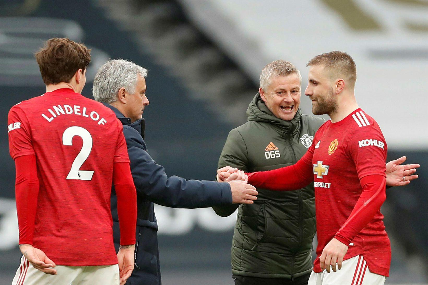 Mourinho og Solskjær eftir leik.