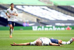 Harry Kane skoraði tvívegis gegn Leicester í dag.
