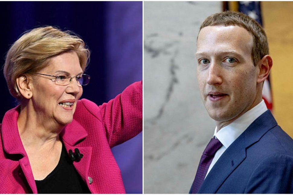 Elizabeth Warren og Mark Zuckerberg.