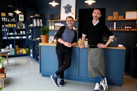 Owners Arnaud-Pierre Fourtané and Didier Fitan at the new Hyalin store.