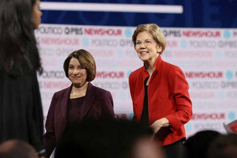Amy Klobuchar og Elizabeth Warren.