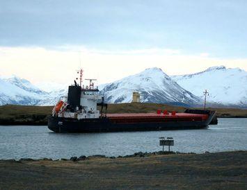 Amber liggur á sandrifi í Hornarfjarðarhöfn.