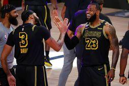 Anthony Davis og LeBron James fagna sætum sigri.