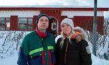 Systkinin Birkir Jónas Einarsson og Steinunn Guðný Einarsdóttir á Flateyri í dag.