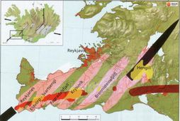 Volcanic systems on the Reykjanes peninsula are shown in pink. The red lines indicate the …