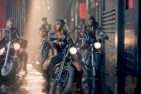 Taylor Swift's biker girls wearing Yeoman accessories.