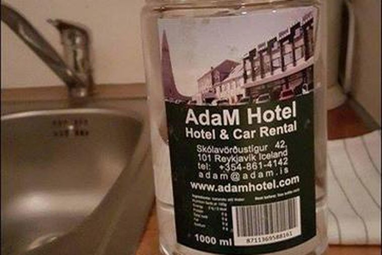 The water bottle labelled AdaM Hotel gives no information of where the water actually came ...