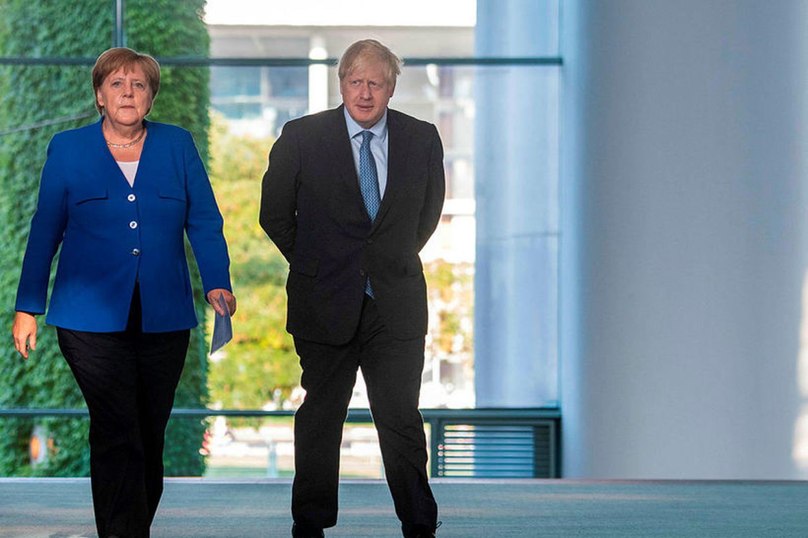 Angela Merkel, kanslari Þýskalands, og Boris Johnson, forsætisráðherra Bretlands.