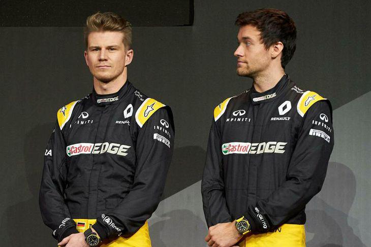 Jolyon Palmer (t.h.) og Nico Hülkenberg keppa fyrir Renault í ár.