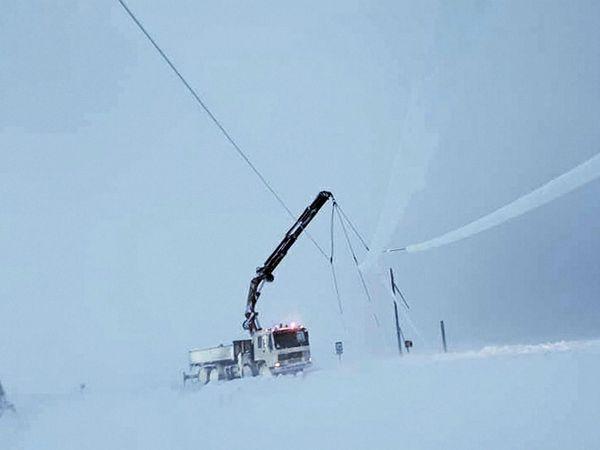 Repair of electrical lines underway near Dalvik.