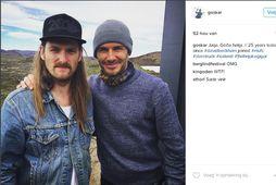 Guðmundur Óskar og David Beckham á góðri stundu við Þríhnúkagíg.