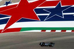 Lewis Hamilton á ferð í Austin í dag.