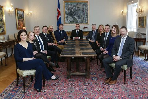 The new government of Iceland at the Bessastaðir Presidential residence earlier today.