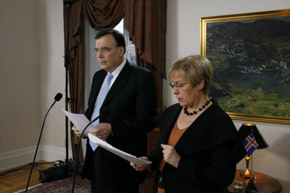 Geir H. Haarde og Ingibjörg Sólrún Gísladóttir á blaðamannafundi.