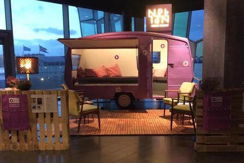 The Nordic Playlist Caravan inside Harpa concert hall.