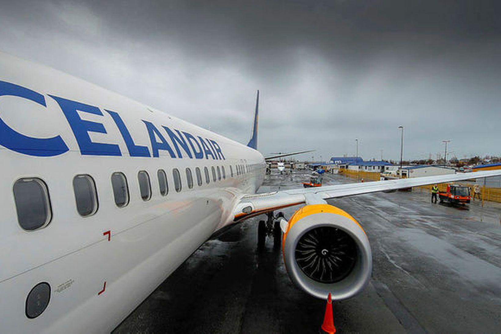 Ein af Boeing Max 8-vélum Icelandair sem hefur verið kyrrsett.