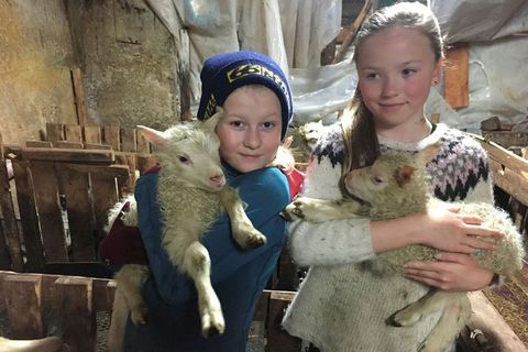 Kría and Jóhanna, holding the lambs Blíða and Blær.