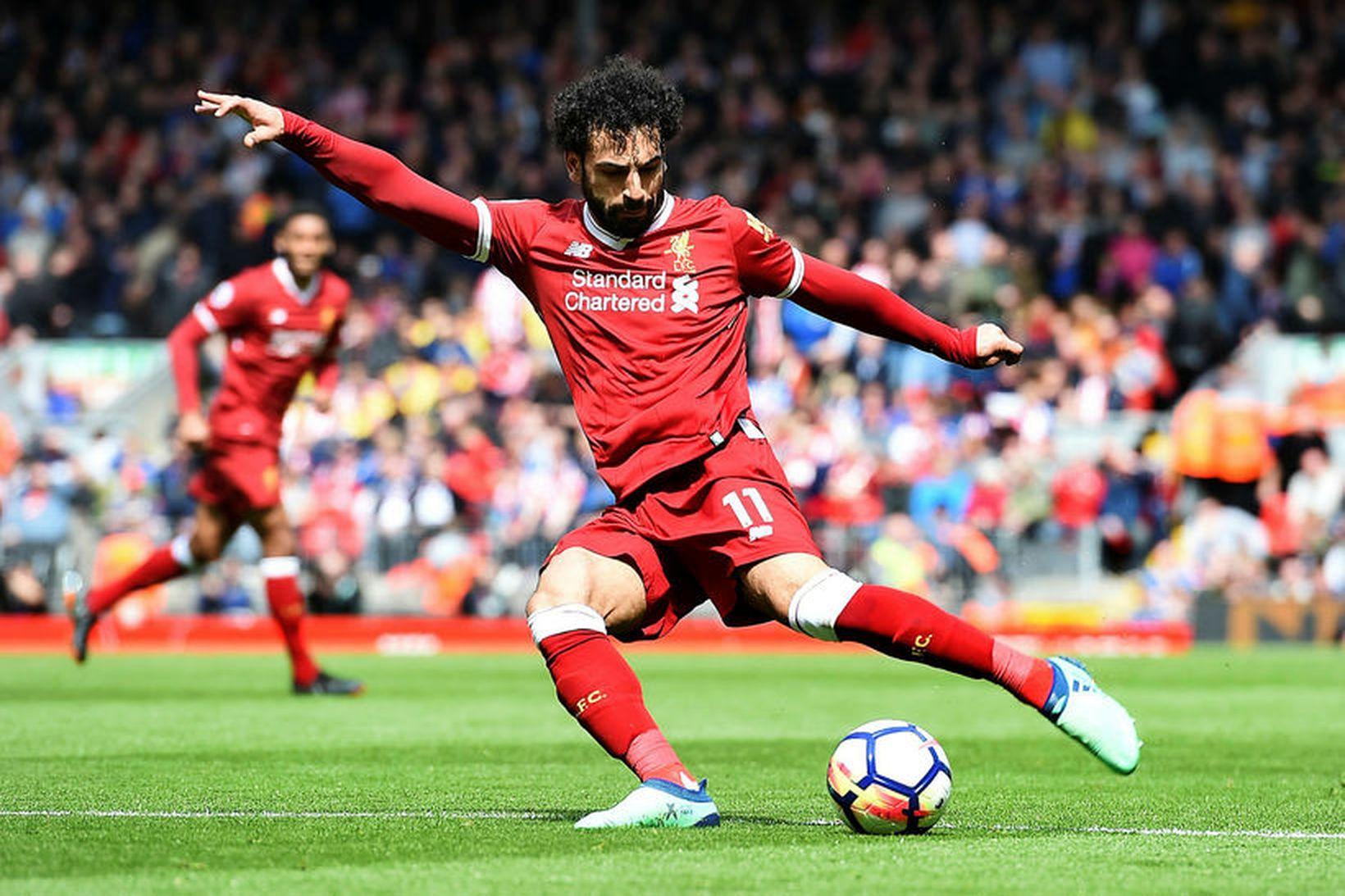 Mohamed Salah í leiknum gegn Stoke á laugardaginn.