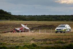Ljósmynd frá vettvangi banaslyss á Haukadalsflugvelli í lok júlí.