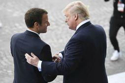 Emmanuel Macron og Donald Trump á síðasta ári.