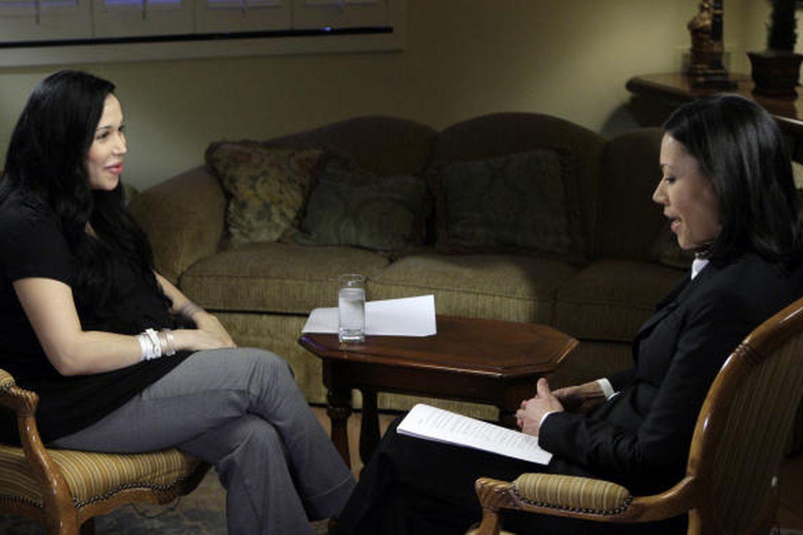 Nadya Suleman ræðir við Ann Curry, fréttamann NBC sjónvarprsstöðvarinnar fyrir …