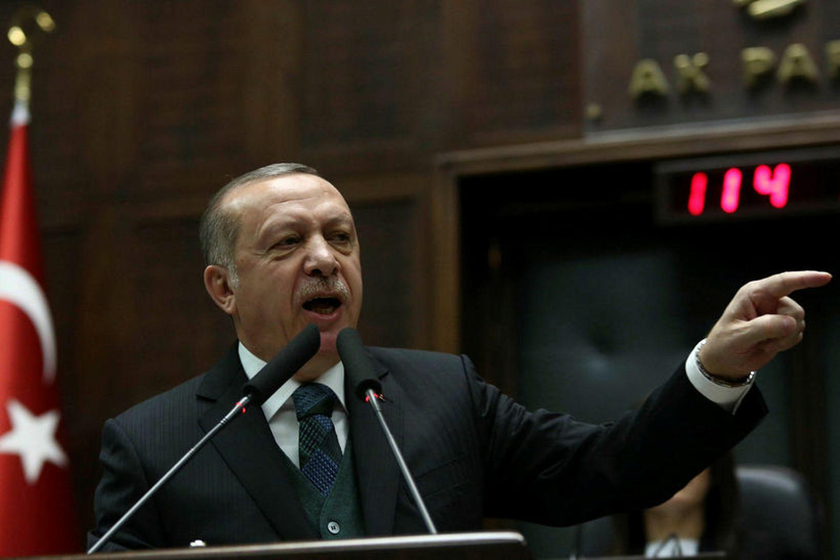 Recep Tayyip Erdogan, forseti Tyrklands, fyrr í mánuðinum.