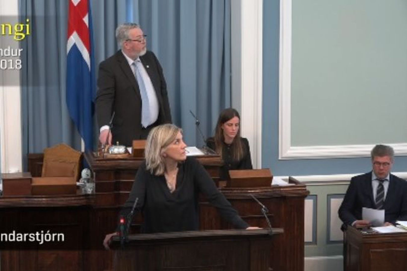 Hanna Katrín Friðriksson og Þorsteinn Sæmundsson horfa upp í þingpalla …