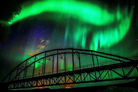 The northern lights, seen from the old Þjórsárbrú bridge, South Iceland, the weekend before last.