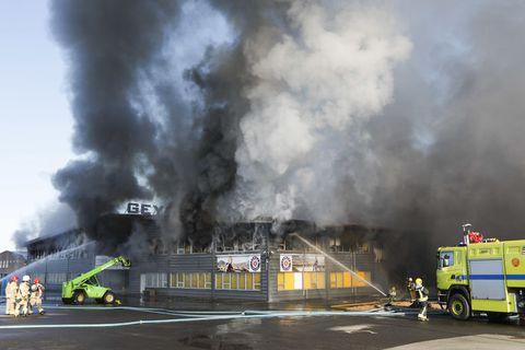 Mikið tjón varð þegar húsnæði Geymslna brann árið 2018.