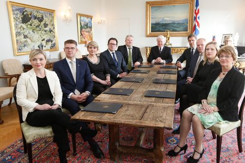 Iceland's government is now run by new PM Sigurður Ingi Jóhannsson (fifth from left).