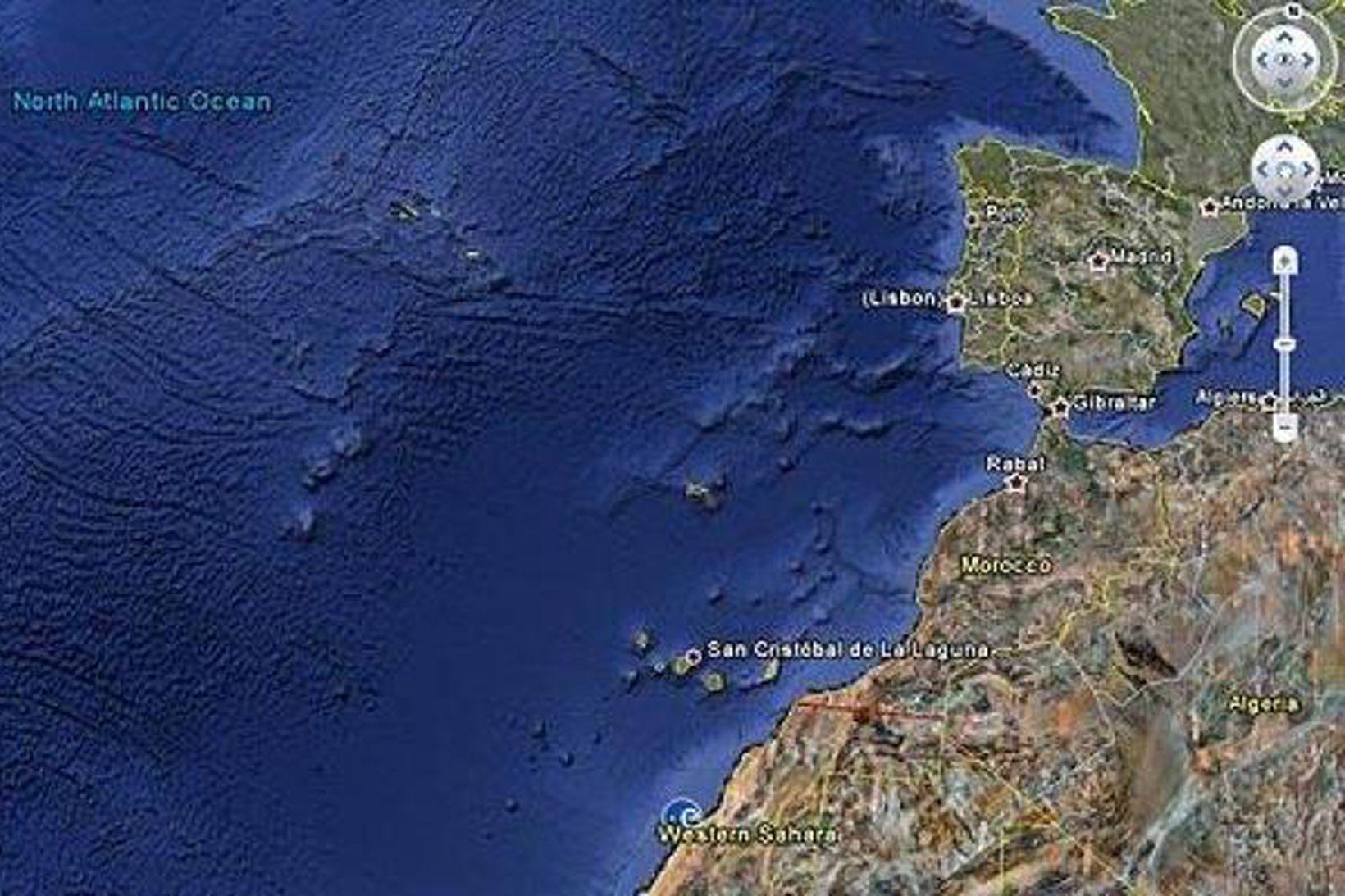Fyrirbærið út af ströndum Norðvestur-Afríku sem uppgötbaðist með Google Ocean.