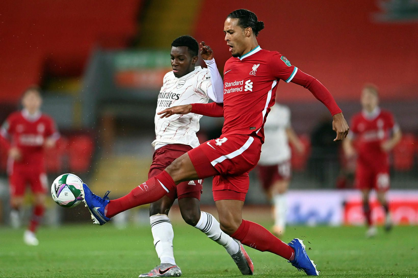 Virgil van Dijk meiddist gegn Everton.