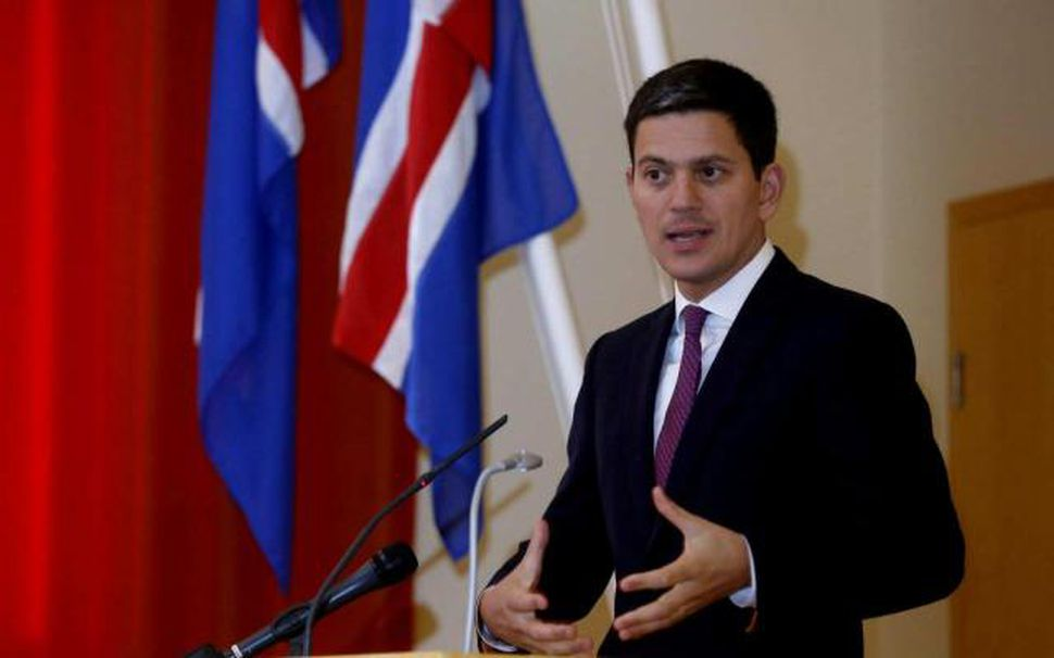 David Miliband, fyrrverandi utanríkis- og umhverfisráðherra Bretlands, á fundinum í ...