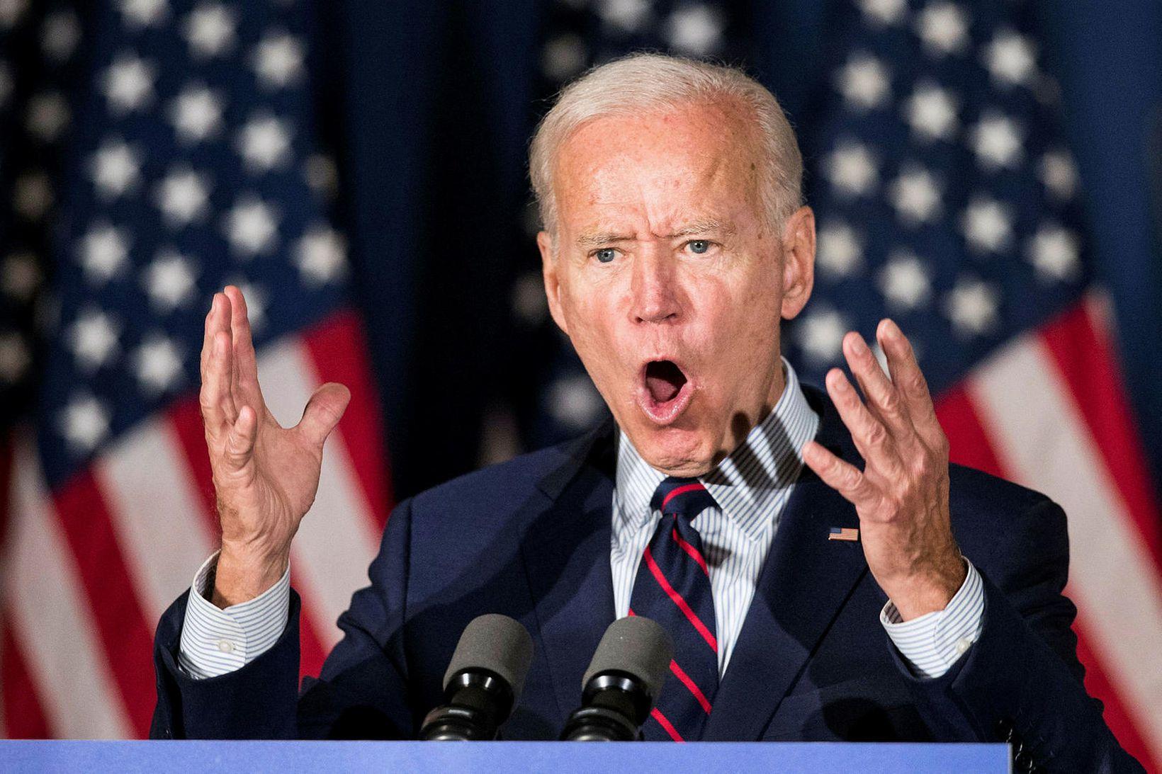 Joe Biden á kosningafundi í Rochester í New Hampshire í …
