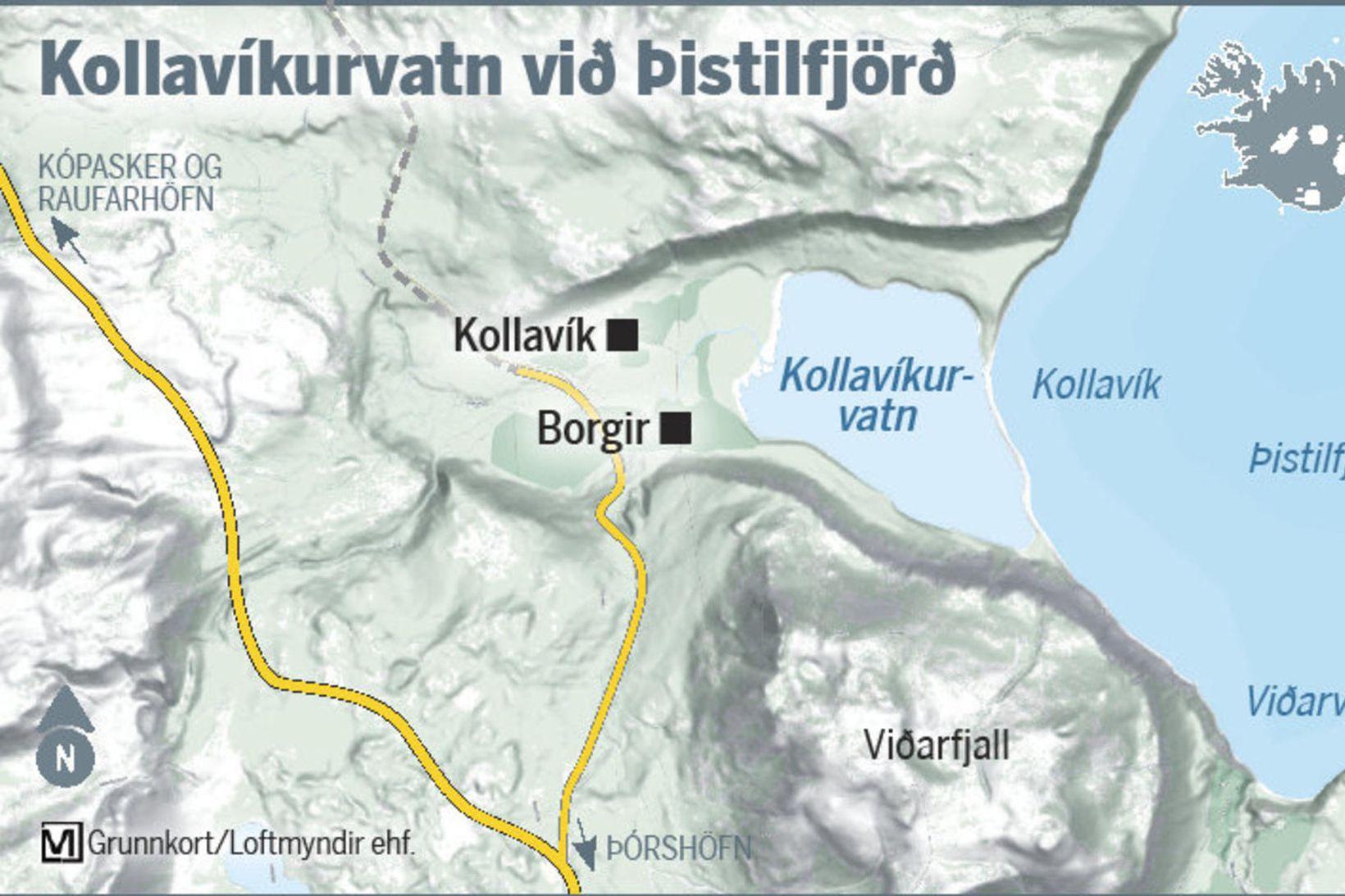 Skarð myndaðist í malarræmuna sem mynda Kollavíkurvatn.