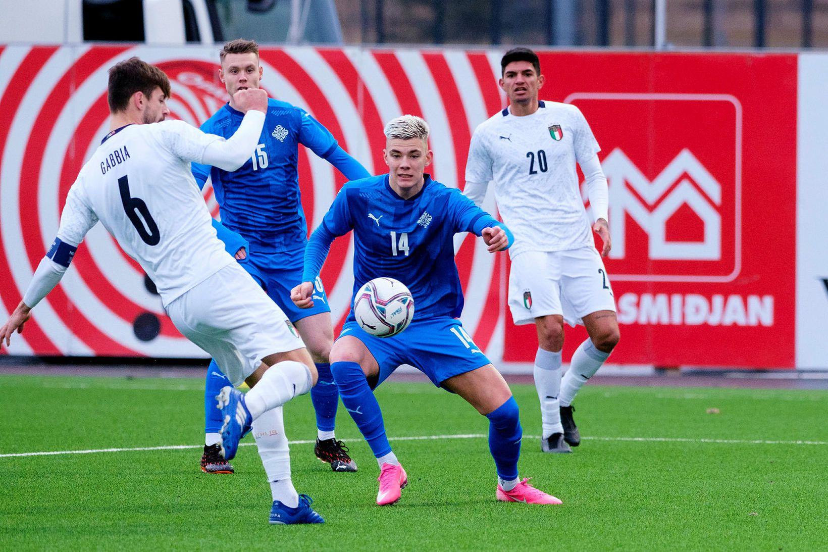 Brynjólfur Willumsson í leik með U21-árs landsliðinu í nóvember á …