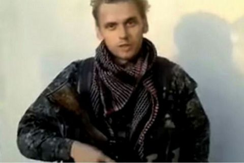 Haukur Hilmarsson speaking in a short video on YouTube saying he was fighting for the International Freedom Battalion.