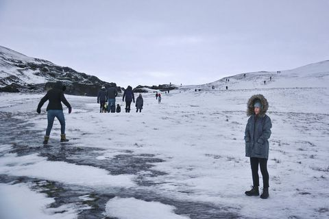 Tourists visiting Fjarðárgljúfur this January. Justin Bieber shot the video to I'll show you in Fjarðargljúfur.