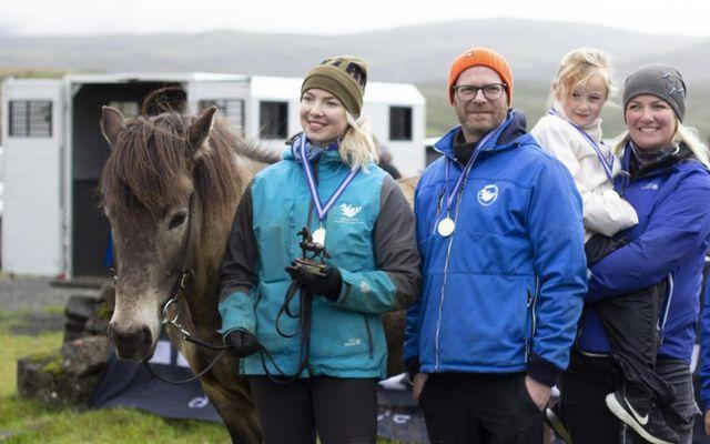 Sigurlið Riding Iceland Saltvík. Frá vinstri: Hesturinn Moldi, Iðunn Bjarndóttir, Hjörtur Skúlason, Hekla Ýr og …