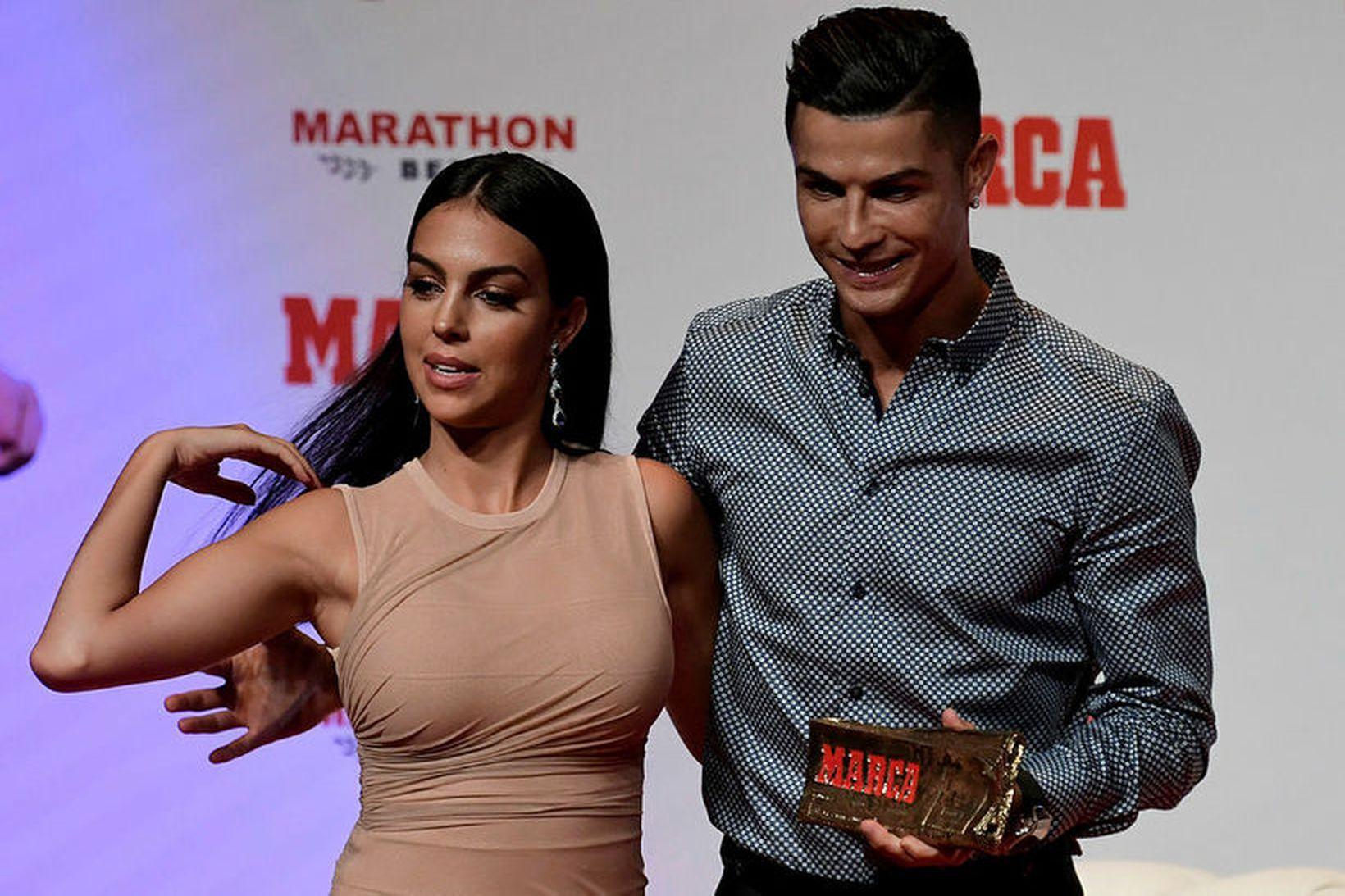 Georgina Rodriguez og Cristiano Ronaldo í Madríd í sumar.