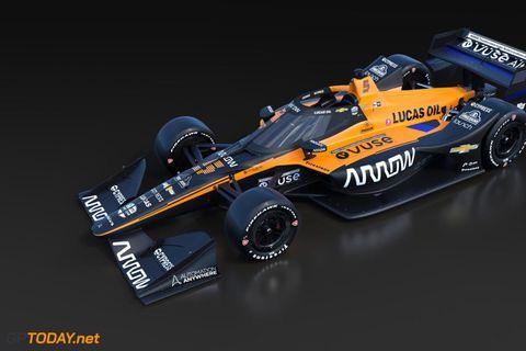 Arrows McLaren bíllinn sem teflt verður fram til keppni í IndyCar mótunum í Bandaríkjunum í …