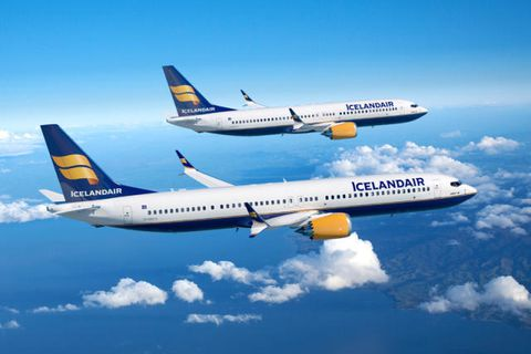 An artist's impression of the new Boeing 737 MAX delivered to Icelandair in 2018-21.