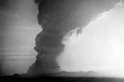 The photo was taken by farmer Þorsteinn Oddsson at Heiði in Rangárvellir. He died in 2008. The photo is taken at 7 am on March 29th in 1947 when the eruption had begun twenty minutes earlier. This unique and historic photograph has never been published before.