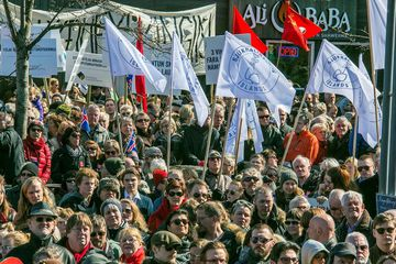 A picture of another march in downtown Reykjavik