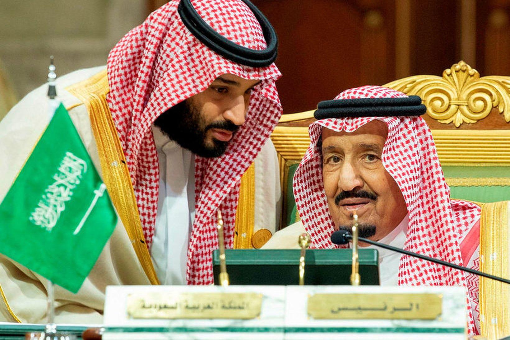 Mohammed bin Salman, krónprins Sádi-Arabíu (t.v.) með föður sínum Abdulaziz …