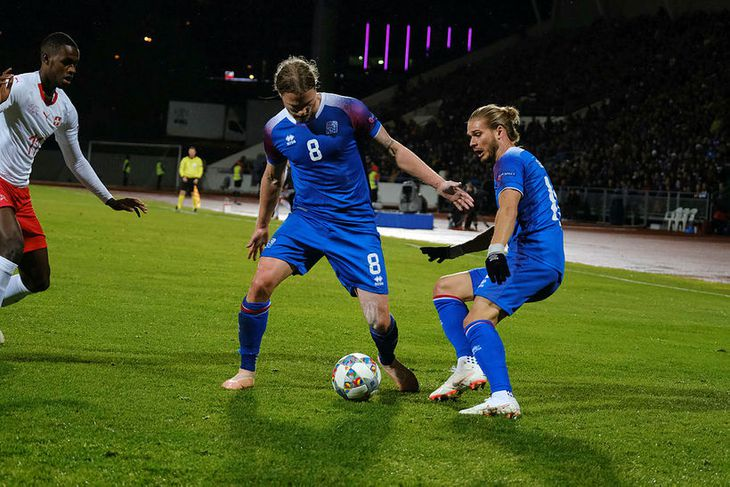 Birkir Bjarnason kom Íslandi yfir gegn Andorra á 22. mínútu.
